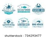 set of vintage seafood ...   Shutterstock .eps vector #734293477