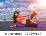 beautiful woman doing a yoga... | Shutterstock . vector #734294617