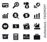 16 vector icon set   card ... | Shutterstock .eps vector #734299297