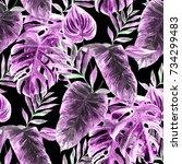 watercolor seamless pattern... | Shutterstock . vector #734299483