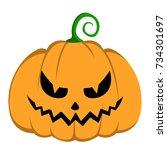 isolated halloween jack o... | Shutterstock .eps vector #734301697