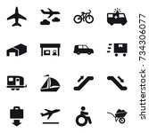 16 vector icon set   plane ... | Shutterstock .eps vector #734306077