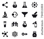 16 vector icon set   molecule ... | Shutterstock .eps vector #734311003