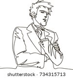 thinking man   continuous line... | Shutterstock .eps vector #734315713