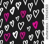 hand drawn texture. hearts ... | Shutterstock .eps vector #734316523