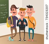 classroom with pupils  student... | Shutterstock .eps vector #734323207