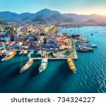 aerial view of boats and... | Shutterstock . vector #734324227