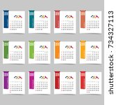 calendar for 2018 art... | Shutterstock .eps vector #734327113