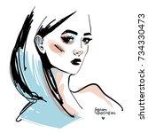 girl fashion drawing portrait....   Shutterstock .eps vector #734330473