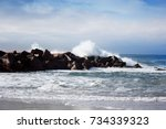 stormy ocean waves beautiful... | Shutterstock . vector #734339323