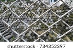 land pins were barred with... | Shutterstock . vector #734352397