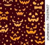 halloween seamless pattern.... | Shutterstock .eps vector #734359657
