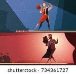 retro dance studio 2 horizontal ... | Shutterstock . vector #734361727