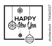 happy new year poster with... | Shutterstock .eps vector #734363227