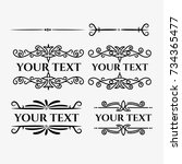 calligraphic frames decorative... | Shutterstock .eps vector #734365477