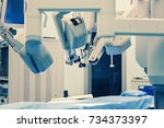 surgical room in hospital with... | Shutterstock . vector #734373397