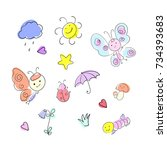 set of colorful doodle on white ... | Shutterstock .eps vector #734393683