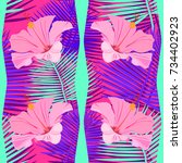 tropical  exotic seamless...   Shutterstock .eps vector #734402923