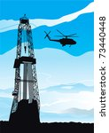 Drilling rig and helicopter. Vector background of drilling rig and helicopter silhouettes on blue sky