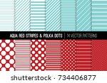 aqua red polka dot and diagonal ... | Shutterstock .eps vector #734406877