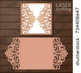 laser cut wedding invitation... | Shutterstock .eps vector #734408647