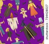 garden ugly terrible fabric... | Shutterstock .eps vector #734428027