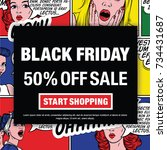 black friday 50  off sale.... | Shutterstock .eps vector #734431687