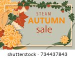 autumn sale flyer template with ... | Shutterstock . vector #734437843