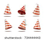 six red festive caps isolated...   Shutterstock . vector #734444443