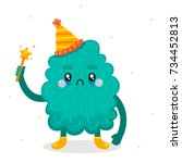 cartoon monster for happy... | Shutterstock .eps vector #734452813