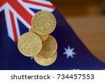 australian dollar coins falling ... | Shutterstock . vector #734457553