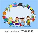cute schoolboys and schoolgirls ... | Shutterstock .eps vector #73445959