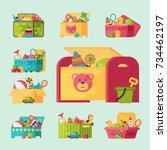 full kid toys in boxes for kids ... | Shutterstock .eps vector #734462197
