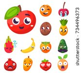 cartoon emotions fruit... | Shutterstock .eps vector #734496373