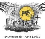 scary graveyard   halloween... | Shutterstock .eps vector #734512417