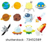 cartoon space icon - stock vector