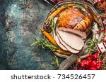 christmas ham served with... | Shutterstock . vector #734526457