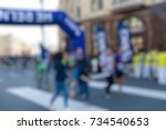 marathon in the city theme... | Shutterstock . vector #734540653