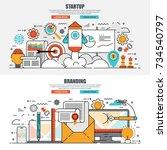 business flat line concept web... | Shutterstock .eps vector #734540797
