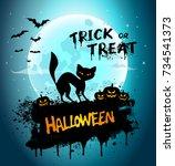halloween night background... | Shutterstock . vector #734541373