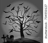 black silhouette of a spooky... | Shutterstock .eps vector #734553127