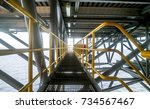 steel grating walk way with... | Shutterstock . vector #734567467