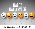 halloween backgrounds with cute ... | Shutterstock .eps vector #734582173
