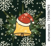 merry christmas and happy new... | Shutterstock .eps vector #734586793