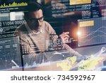businessman working with modern ... | Shutterstock . vector #734592967