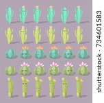 big set of cute cartoon cactus... | Shutterstock .eps vector #734601583