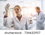 two scientists are working in... | Shutterstock . vector #734632957
