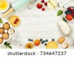 baking tools and ingredients  ... | Shutterstock . vector #734647237