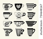 set with tea cups. freehand... | Shutterstock .eps vector #734648167