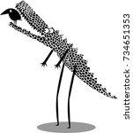 funny crocodile and bird ... | Shutterstock .eps vector #734651353